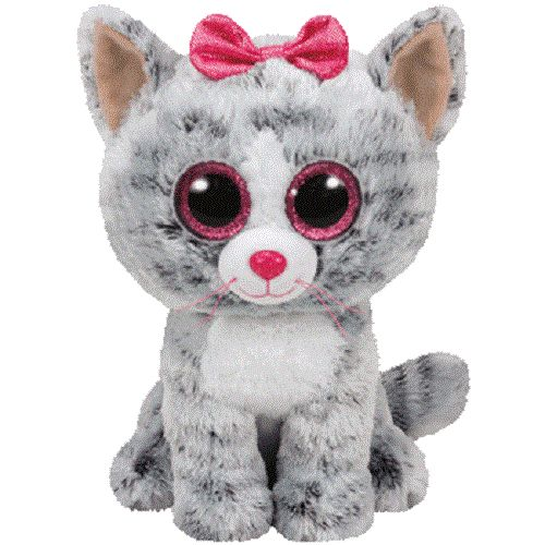 Kids and collectors alike will love this cat Beanie Boo! Featuring a smooth grey and white tabby coat, pink ears, and an adorable pink bow, this doe-eyed stuffed toy cat has synthetic beans that allow
