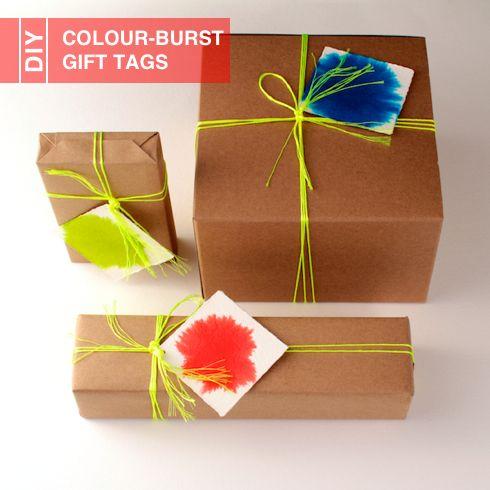 DIY Colour-Burst Gift Tags tutorial: Food Colors, Edible Crafts, Diy Colour Burst, Gifts Wraps, Diy Gifts, Colourburst Gifts, Gifts Tags, Colour Burst Gifts, Wraps Ideas