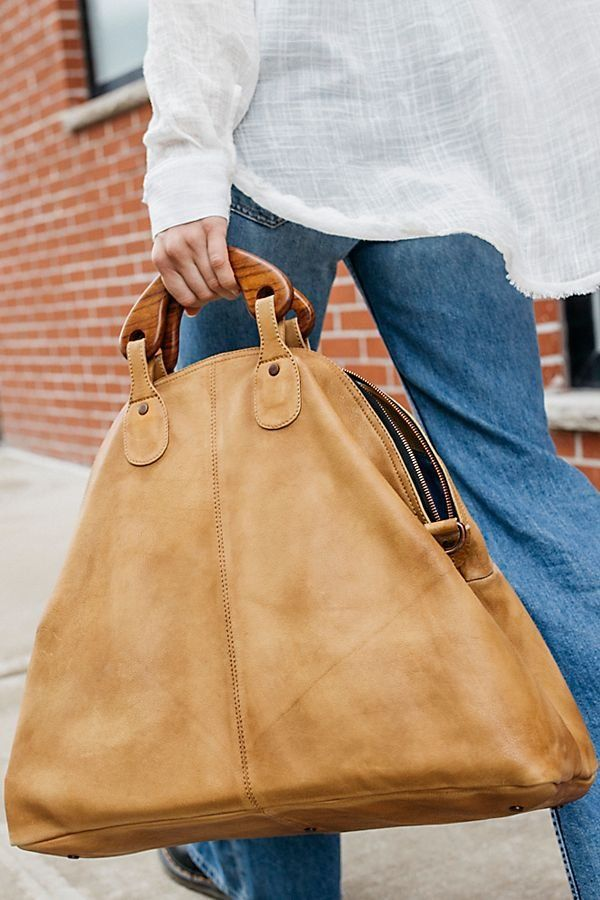 Willow Vintage Tote - Large Tan Brown Leather Tote with Wooden Handles and  Long Strap f7570b7344