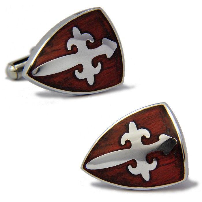 Vintage Cufflinks Cross Shield Pattern Redwood Cufflinks For Men | Cosplay, t shirt, cufflinks and more | Buytra