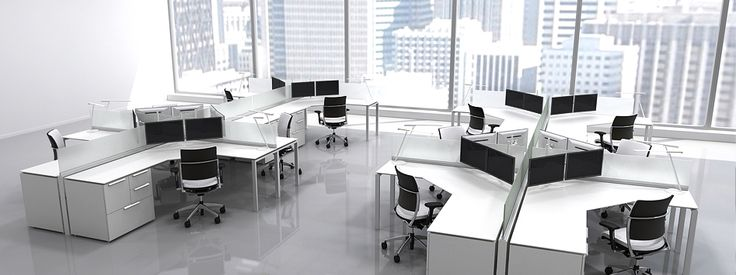 Modern Office Furniture Interior Workstations Comp 3ds 3D