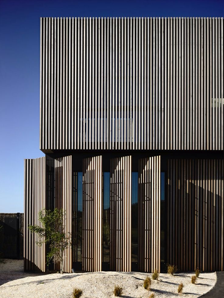 http://wolveridge.com.au/portfolio/torquay-house/    Timber battens are a bit dated now but this is a great example