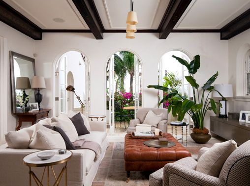 Light, bright interior in 1930's Spanish Colonial.  Traditional and modern elements.