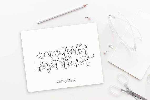 we were together / walt whitman / calligraphy print