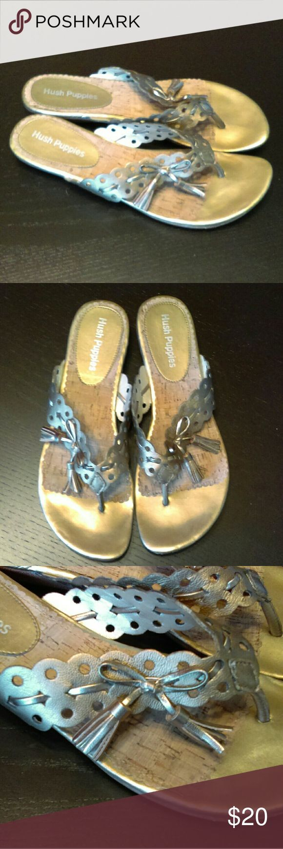 Hush Puppies like-new gold sandals Gold sandals with tassel bows, 3/4 inch heel. Hush Puppies Shoes Sandals