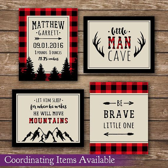 Lumberjack nursery, red and black nursery, plaid nursery