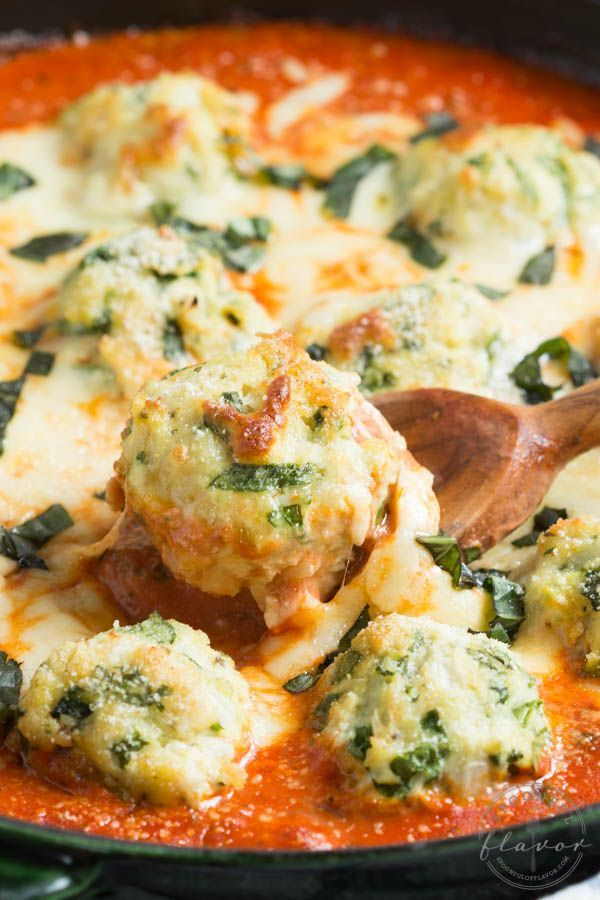 Spinach Chicken Parmesan Meatballs in Creamy Tomato Sauce - Spoonful of Flavor