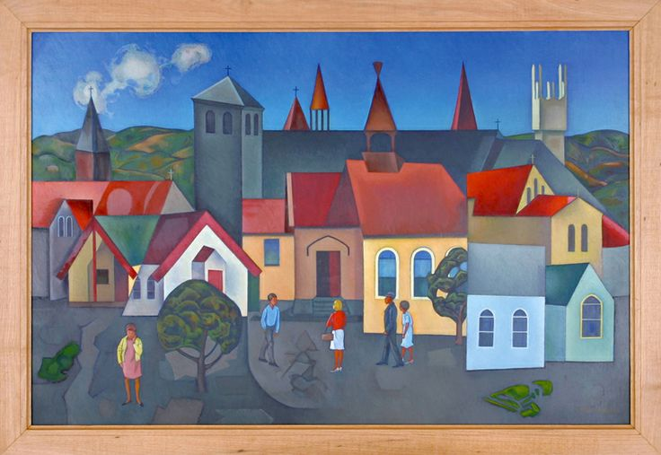Churches, Hawkes Bay, 1962-1963, Rita Angus (b.1908, d.1970), gifted by Napier City Council, collection of Hawke's Bay Museums Trust, Ruawharo Tā-ū-rangi, 66/264. Copyright courtesy of The Estate of Rita Angus. http://www.ritaangus.com