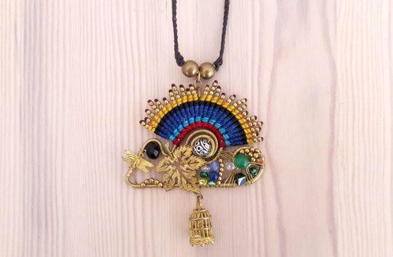 Sunrise Necklace, Sunset Pendant, Sun Jewelry, Boho Necklace, Hippie Pendant, Tribal Jewelry, Thai Jewelry, Birdcage Accessory, Blue Yellow  www.bohemianstyleshop.etsy.com