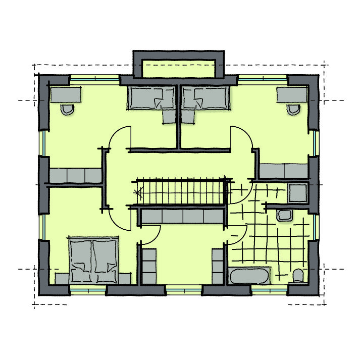 Grundriss Einfamilienhaus Obergeschoss mit Satteldach, 160