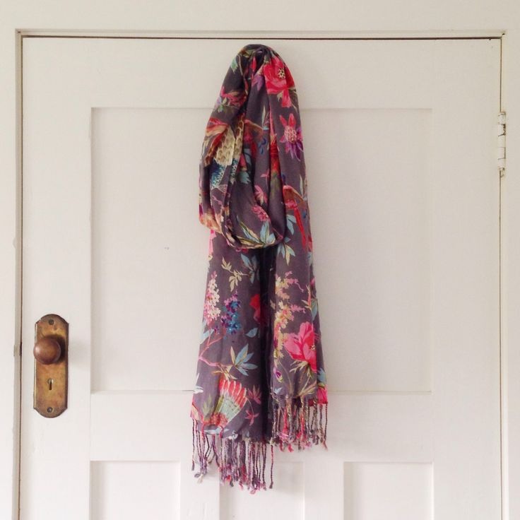 Grey Bird of Paradise scarf. It drapes beautifully, is light and doesn't crease.  www.rosaliving.co.nz  www.rosaliving.com.au