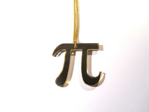 Gold Mirror Acrylic PI Symbol Necklace. Channel your inner scientist with this fabulous gold mirrored PI symbol, fashioned from 3mm laser-cut acrylic. On a 46cm gold plated curb chain.