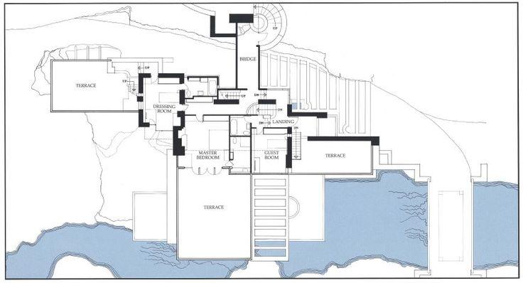 Fallingwater House - Frank Lloyd Wright Second Floor Plan