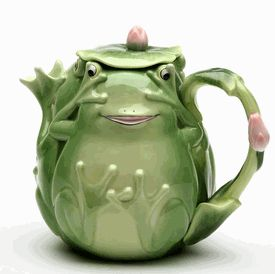 6.25 inch Playful Smiling Green Fairy Frog Teapot With Lily Pad Lid