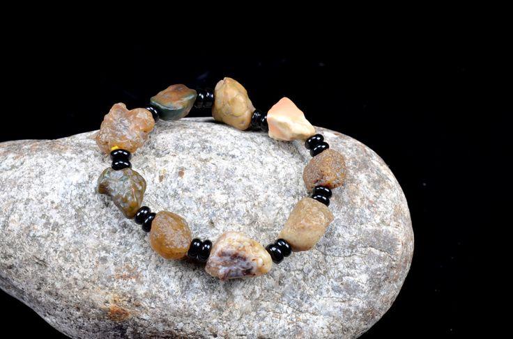 Light colour Raw Agate Bracelet, Rough Gemstone Bracelet, River rocks bracelet,raw stone bracelet,gift for him by AmazingGemstone on Etsy