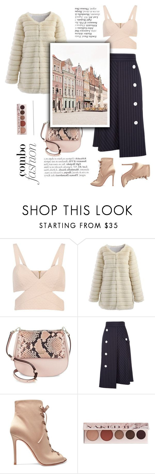 """""""Romantic outfit"""" by little-vogue ❤ liked on Polyvore featuring River Island, Chicwish, Kate Spade, Dorothee Schumacher, Gianvito Rossi, 100% Pure, Pink, fashionset and polyvorefashion"""