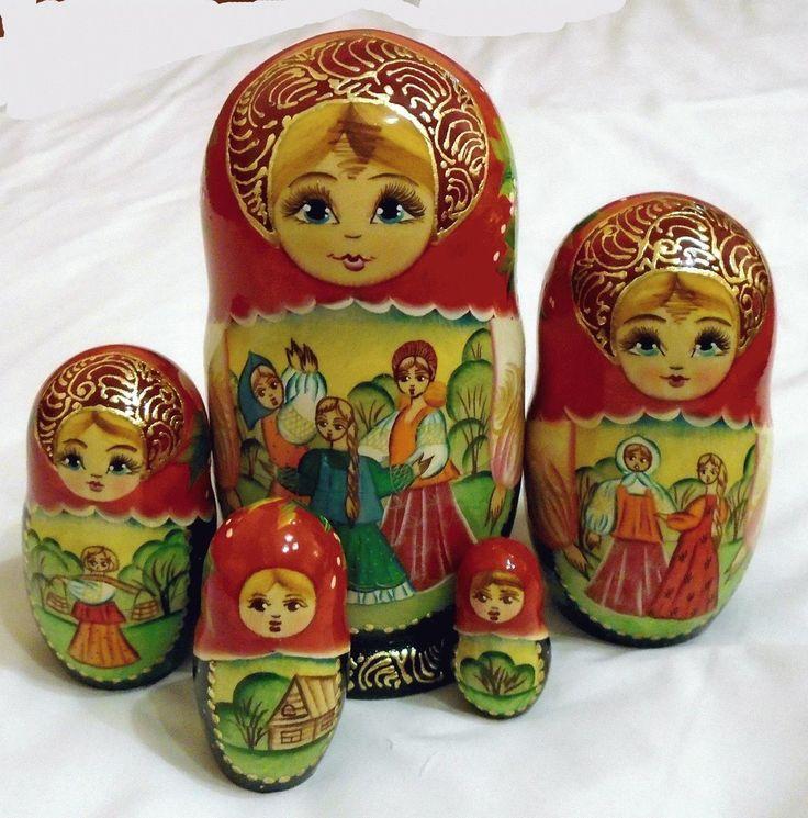 Filles poupees russes matriochka babouchka russe bois artisanat art 5pc in Jouets et jeux, Poupées, vêtements, access., Poupées russes | eBay