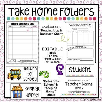 Take Home Folders with EDITABLE labels, Reading Log, Behavior Log ...