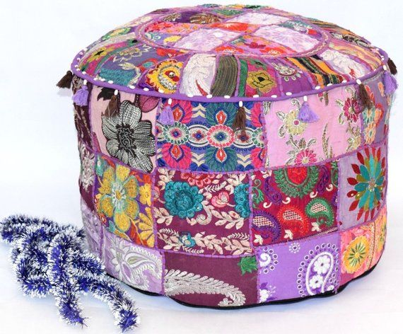 Pin On Patchwork Pouf Cover Ottoman Pouffe Foot Stool Chair