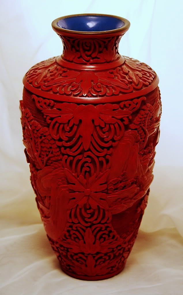 Antique Chinese Cinnabar Vase Antique Large Cinnabar