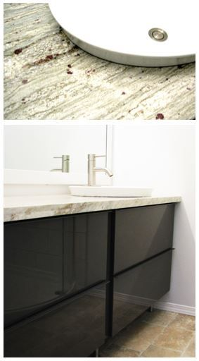 River White Granite Gray Vanity And White Granite On
