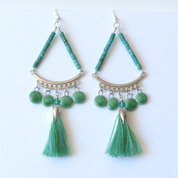Boucles d'Oreille Turquoise Gypsy Hippie Chic Boho Bohème, Pompon, Céramique, Fête des Mères : Boucles d'oreille par bleulucioleshop