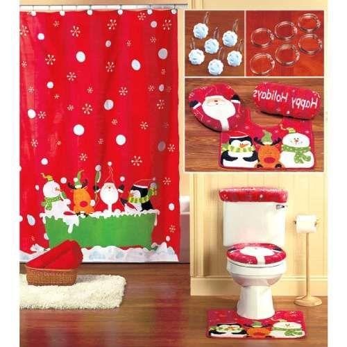 Christmas Shower Curtain Set Decor Ideas Christmas Bathroom Decor Bathroom Decor Sets Christmas Shower