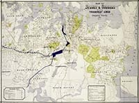 Map of Sydney & suburbs showing tramway lines and stopping places, 1892.