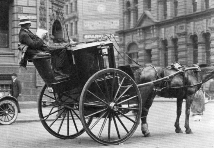 A Hansom cab in a Melbourne, Australian street c1905.