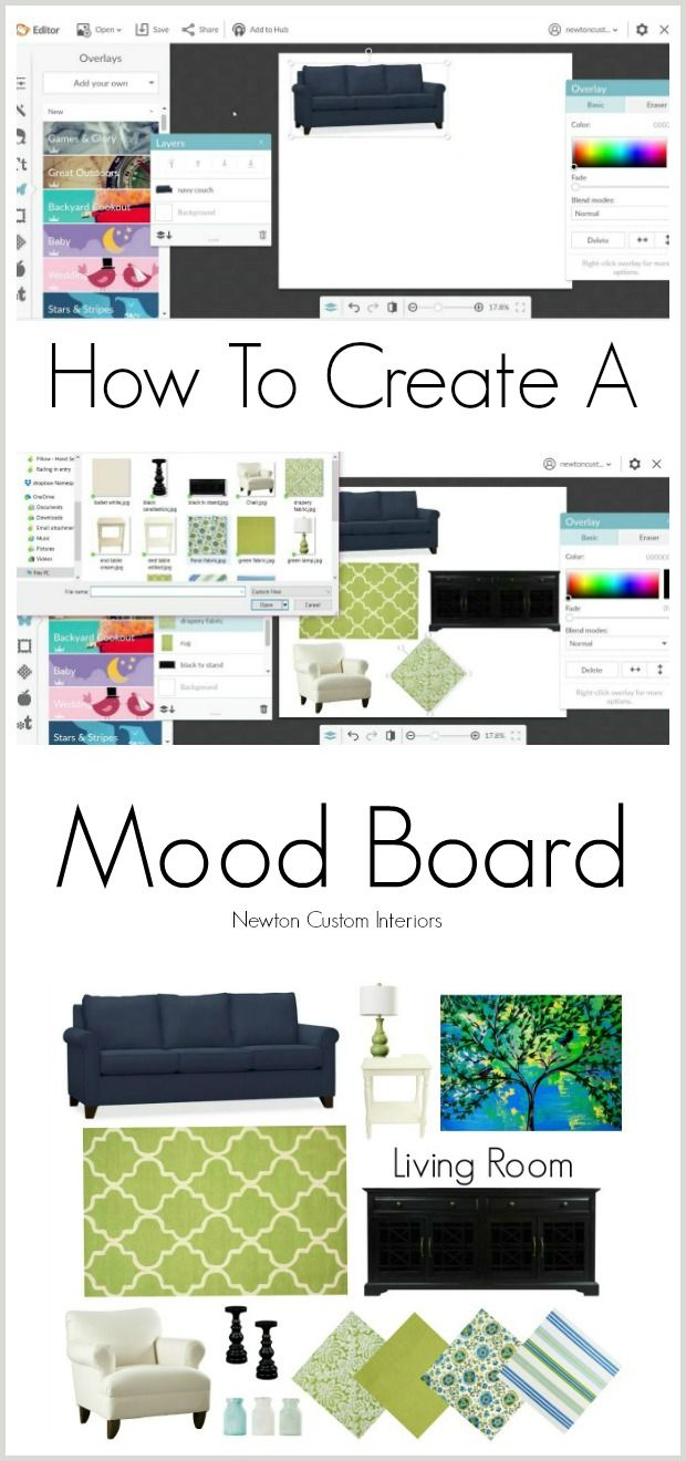 Learn how to create a mood board for your space to avoid costly mistakes when you are designing a new look for your room.  #newtoncustominteriors #moodboard #homedecor #budgethomedecor