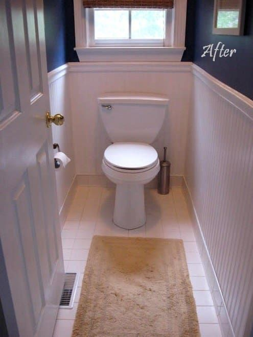 This is especially easy if you already have a chair rail. You can get bead board wallpaper here for $24.98 per roll. Here's how to do it.