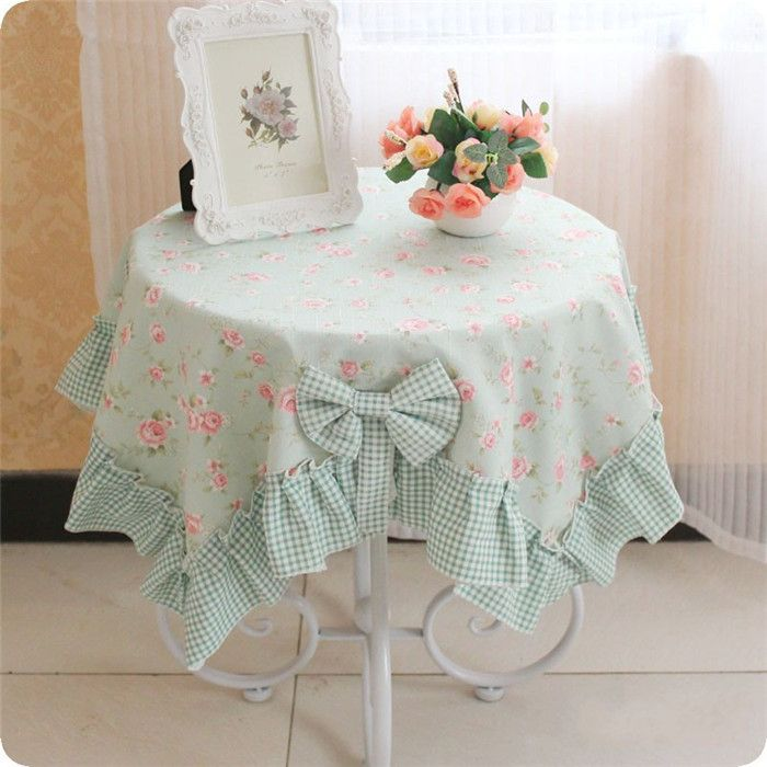 XS Korean ramie green Thicken flower DSHY tea table cover dining table cover set tablecloth table dining chair cover table cloth