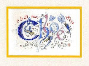 calligraphie et enluminure proposées par Jane Sullivan