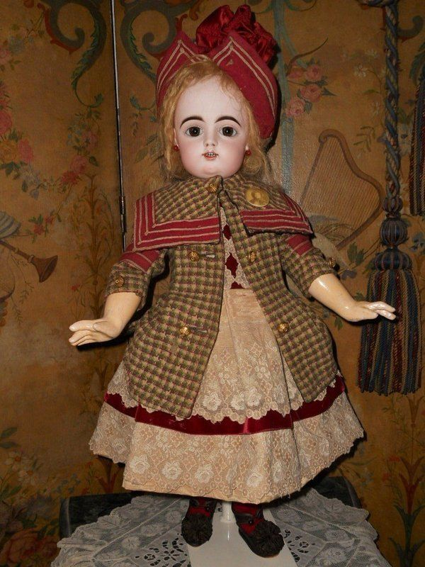 French Bisque Bebe by Gaultier in Superb Costume - WhenDreamsComeTrue #dollshopsunited