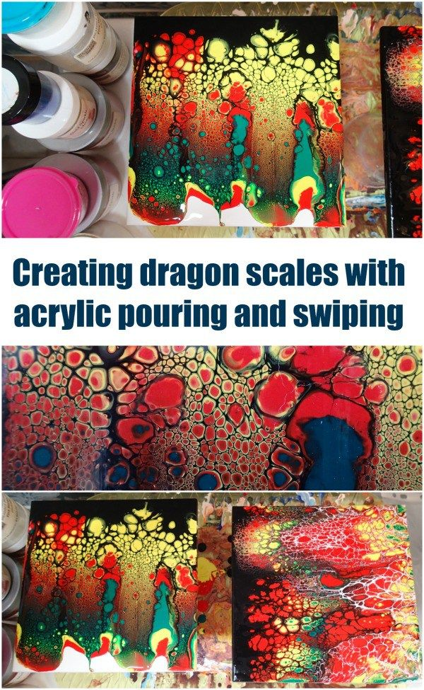 Awesome 'dragon scales' acrylic painting using the pour and swipe method. Video shows