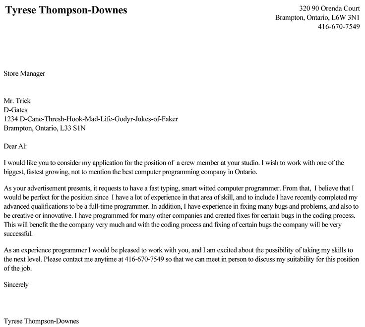 Cover Letter Page 2