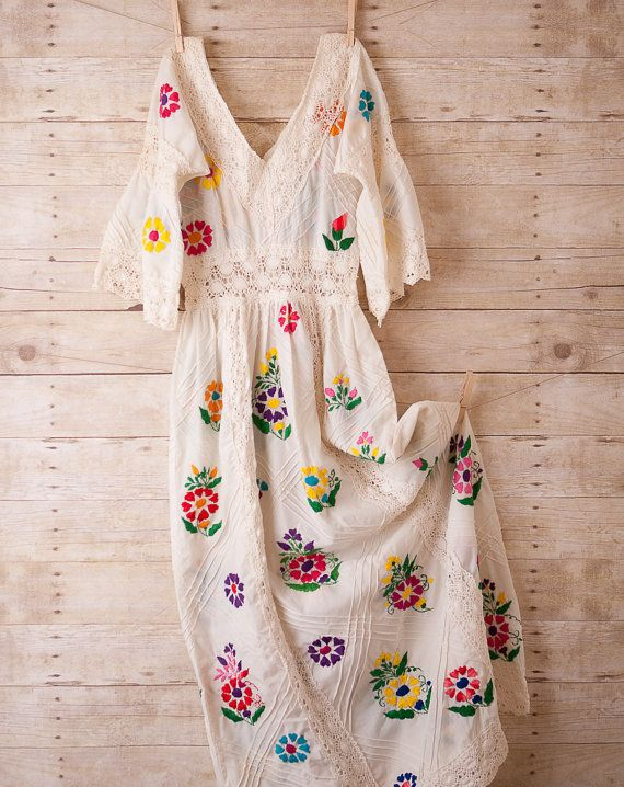 White Dress Folk Wedding Boho Hippie Maxi Hand Embroidered with Crocheted lace XS/S