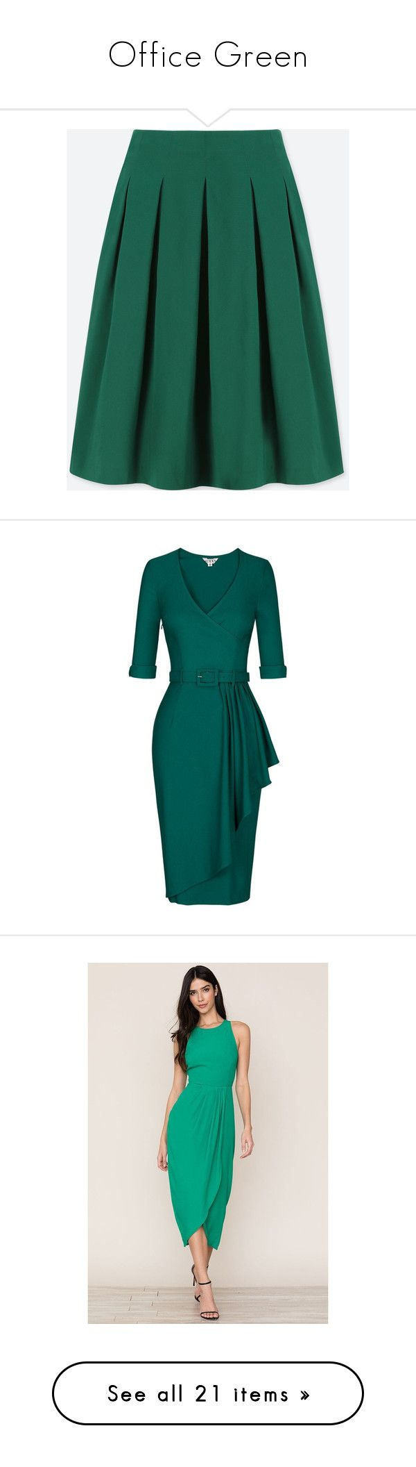 """Office Green"" by greensparkle1 ❤ liked on Polyvore featuring skirts, dark green, knee length skirts, holiday skirts, knee high skirts, high-waisted skirt, dark green skirt, dresses, green and pink evening dress"