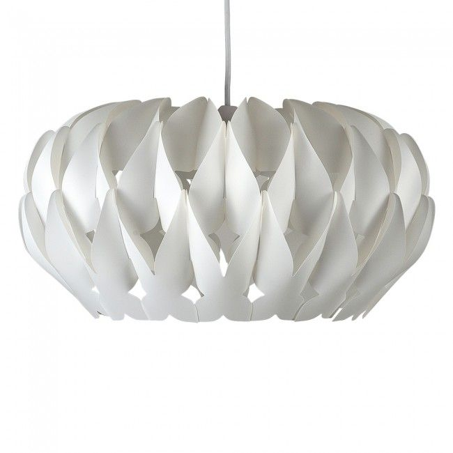 Decorative 'Arena' Ceiling Pendant Shade in White Finish with Cutout Crescents