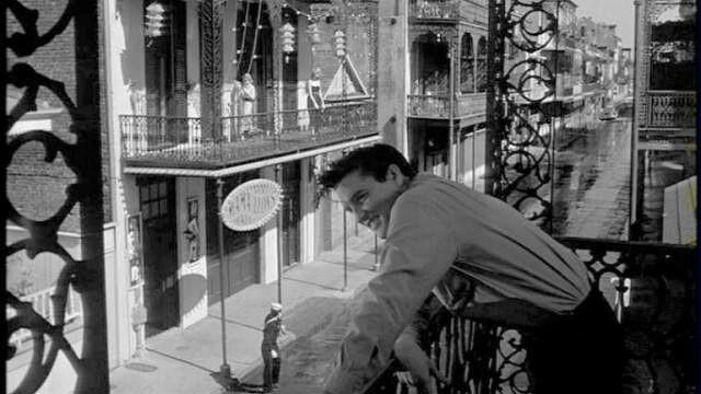 Elvis enjoying the view from a french quarter balcony 1958 for The balcony film