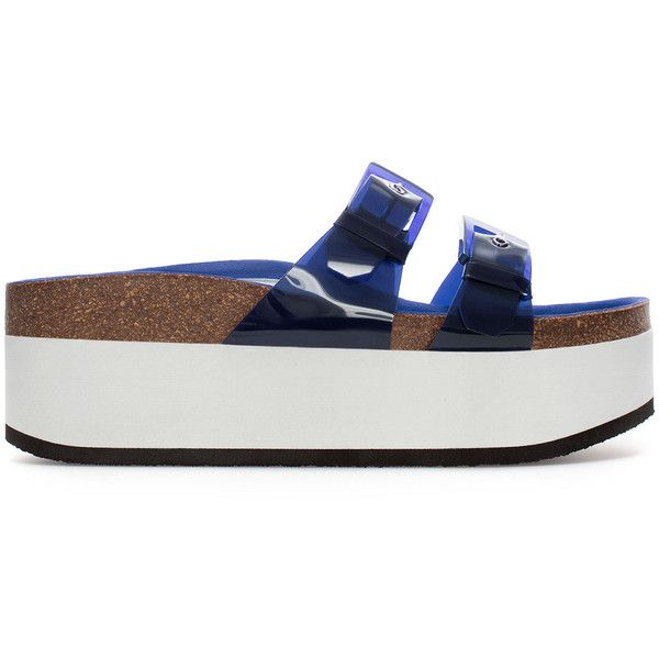 Zara Vinyl Wedge Sandals (216.105 IDR) ❤ liked on Polyvore featuring shoes, sandals, wedges, navy blue, zara sandals, navy wedge sandals, wedge heel sandals, wedge sandals and wedge heel shoes