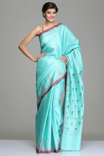 Light Blue Tussar Silk Saree With Burgundy Temple Motifs On The Border And Burgundy And Gold Zari Tiny Floral Bootis On The Pallu