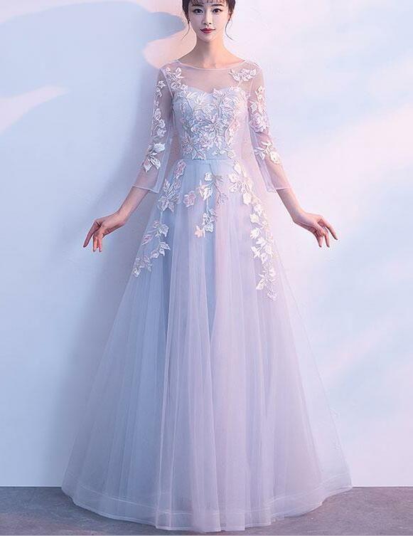 Elegantes graues formelles Kleid mit langen Ärmeln, | BeMyBridesmaid