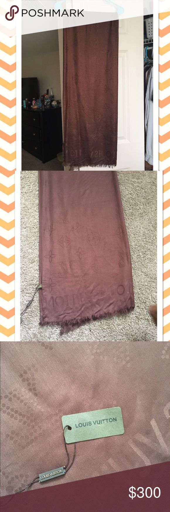 Real Louis Vuitton scarf New, never worn Louis Vuitton scarf in brown. Great condition! Very soft! No trades, but willing to negotiate price. Louis Vuitton Accessories Scarves & Wraps