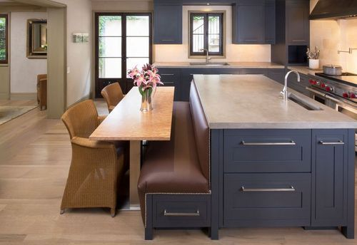 What Is A Kitchen Island With Pictures: Kitchen With Large Island With Bench Seating And Table