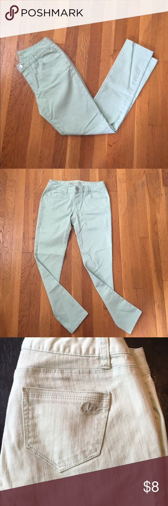 Mint green pants Mint green colored jeans. The color is deeper in real life, having trouble getting a good picture. American Rag size 3 short. Lightly used. American Rag Jeans Ankle & Cropped