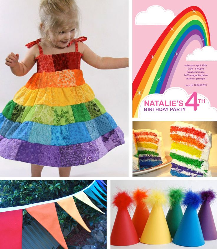 rainbow birthday party decore | clockwise from top right rainbow invitation by paperpsice rainbow cake