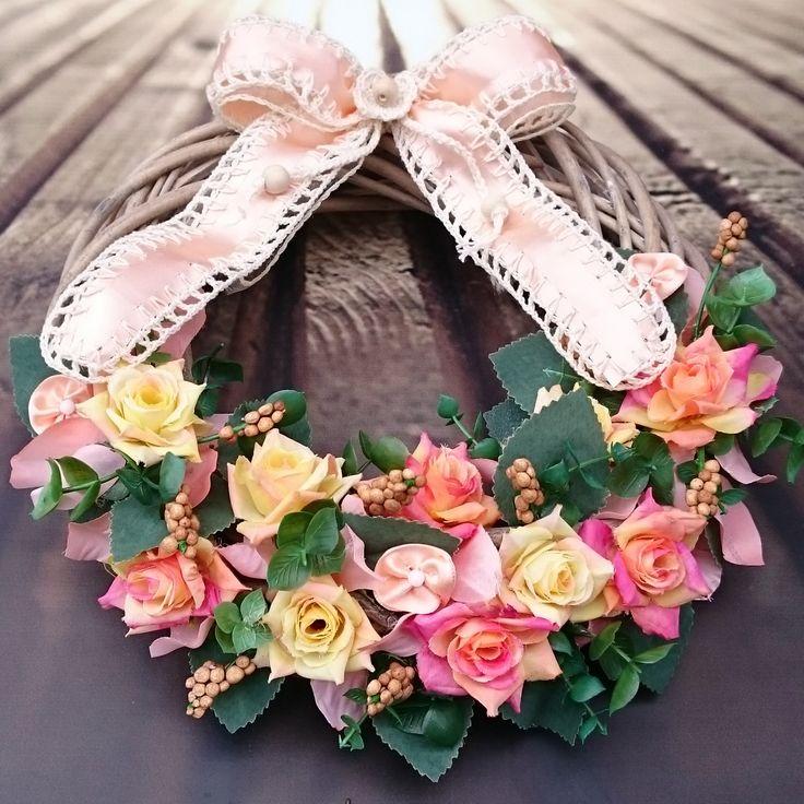Pastelový+Romantický+věneček+v+jemných+pastelových+barvách,+průměr+26+cm.