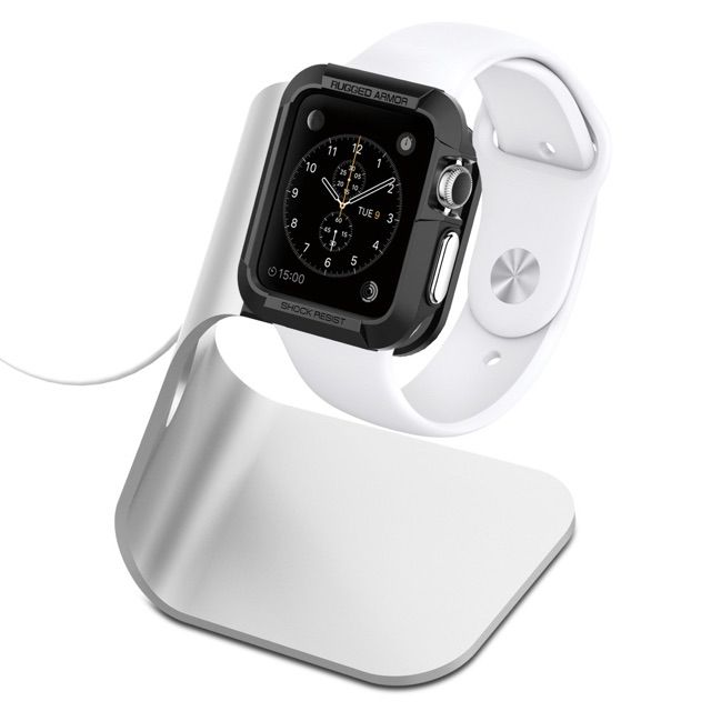 the Spigen aluminum Apple watch stand which holds your watch at comfortable viewing angle while it charges. The sleek aluminum stand is very sturdy and keeps your watch in place, while the TPU dock makes sure the watch remains scratch-free.