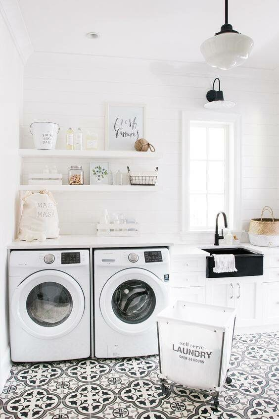 Laundry Room Shiplap Walls Cement Tile Floors Black Sink And Bronzed Fixture Plus School House Lights Industrial Light Over Window